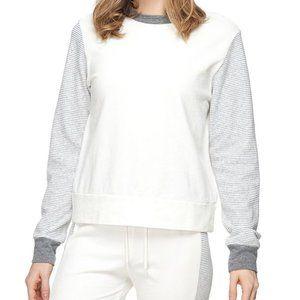 Monrow White + Gray Stripe Mix Sweatshirt Large